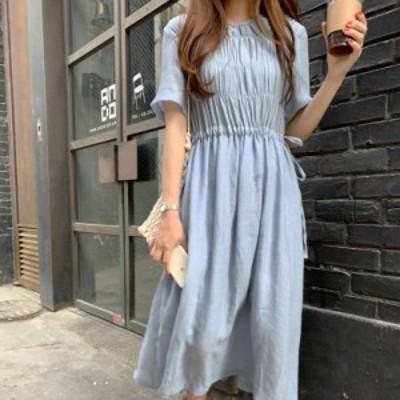 ワンピース ロング丈 半袖 シャーベットカラー ペールブルー デート レディース ファッション 韓国 オルチャン