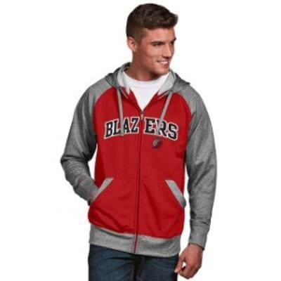 Antigua アンティグア スポーツ用品  Antigua Portland Trail Blazers Red/Gray Strategy Raglan Full-Zip Hoodie