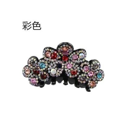髪留め シンプル ラインストーン ヘアクリップ 輝く 花 魅力的 装飾 ヘアアクセサリー 全7色 - マルチカラー