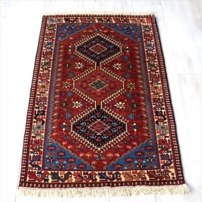 トライバルラグ・部族絨毯/イラン南部ヤラメ Yalameh 131x85cm レッド&ブルー 六角メダリオン