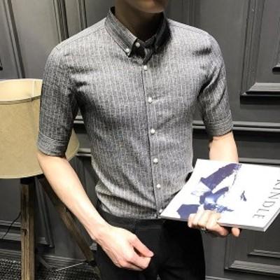 カジュアルシャツ ストライプ ワークシャツ ビジネス ボタンダウンシャツ ワイシャツ トップス スリム 形態安定 おしゃれ 通勤 開襟 メン