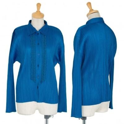 プリーツプリーズPLEATS PLEASE 数字レース装飾シャツ 青3 【レディース】