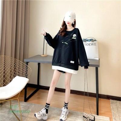 カットソー レディース 裾レイヤード風 長袖 トップス プリント トレーナー 春 ゆったり Tシャツ 秋 配色