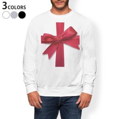 トレーナー メンズ 長袖 ホワイト グレー ブラック XS S M L XL 2XL sweatshirt trainer 裏起毛 スウェット 赤 レッド リボン 008362