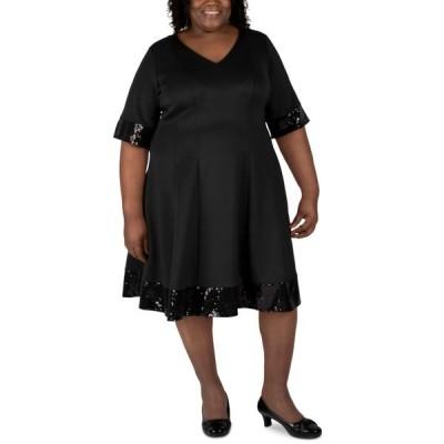ロビービー ワンピース トップス レディース Plus Size Sequin-Trim Fit & Flare Dress Black