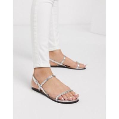 エイソス レディース サンダル シューズ ASOS DESIGN Fuse leather studded flat sandals in silver Silver