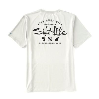 ソルトライフ メンズ Tシャツ トップス Watermans Trifecta Graphic Short-Sleeve Rashguard T-Shirt Mist Grey Heather
