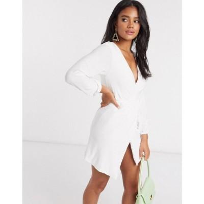クラブエル ロンドン Club L London レディース ワンピース ラップドレス ワンピース・ドレス Club L slinky wrap dress with plunge front in white ホワイト