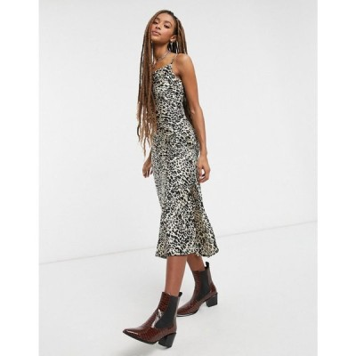 ヴァイオレット ロマンス VIOLET ROMANCE レディース ワンピース スリップドレス キャミワンピ Violet Romance Cami Strap Satin Slip Dress In Leopard Print