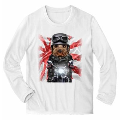 【ヨークシャテリア ドッグ 犬 いぬ バイク 日本 日の丸】メンズ 長袖 Tシャツ by Fox Republic