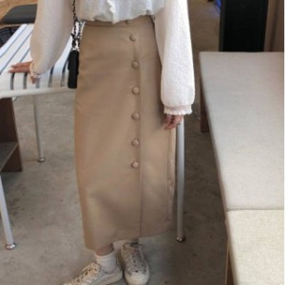 2色 タイトスカート ロング ラップ ハイウエスト スリット 大人可愛い カジュアル レトロ 大人可愛い 韓国 オルチャン ファッション
