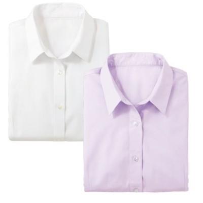 形態安定2枚組レギュラーカラーシャツ(七分袖)(洗濯機OK)/B(ホワイト+ラベンダー)/S