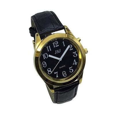 腕時計(男性)英会話腕時計 アラーム機能付き トーキング日付と時刻 ブラックダイヤル ブラックレザーバンド ゴールデンケース