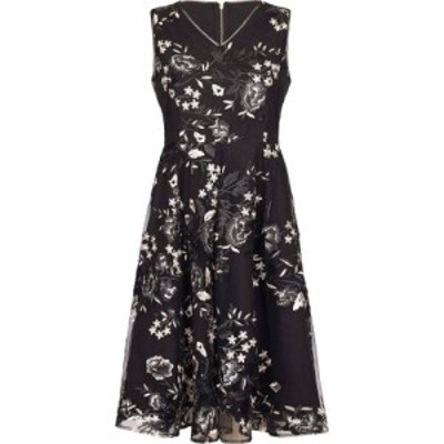 ユミ Yumi レディース パーティードレス Aライン ワンピース・ドレス Embroidered Floral Skater Dress Black