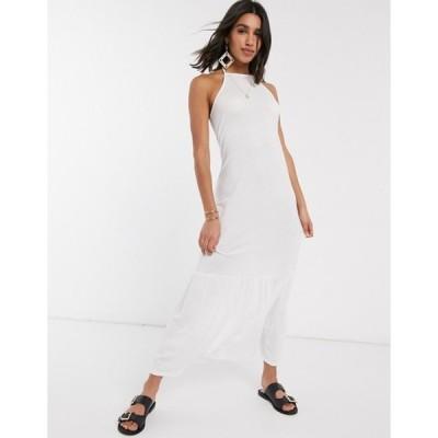 エイソス レディース ワンピース トップス ASOS DESIGN square neck halter maxi dress with pep hem in white