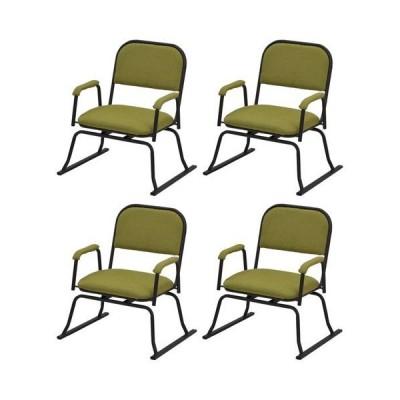 エイ・アイ・エス 楽座椅子 回転式 4脚セット/RCR-30GN x4PCS グリーン/560x500x640mm