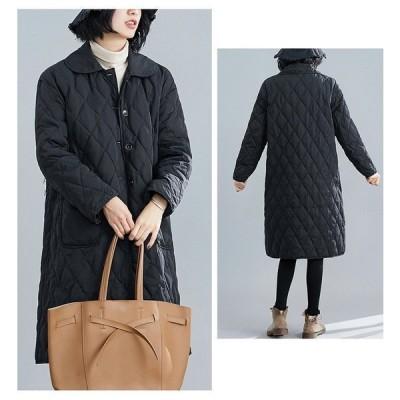 コート秋服大きいサイズカジュアル防寒30代ロングコート韓国風レディース中綿ジャケットおしゃれ40代