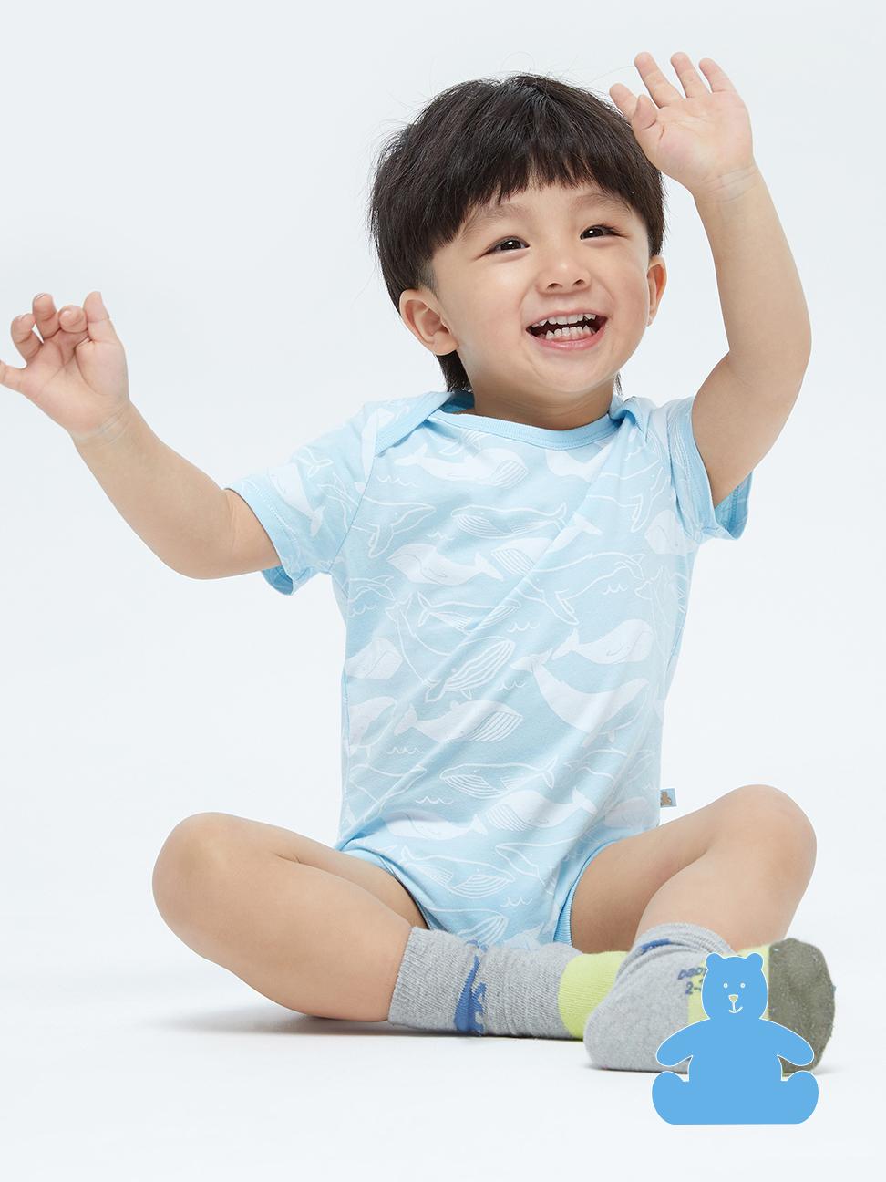 嬰兒 布萊納系列童趣印花舒適短袖包屁衣