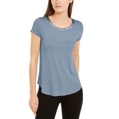 アルファニ レディース シャツ トップス Satin-Trim High-Low T-Shirt Prussian Blue