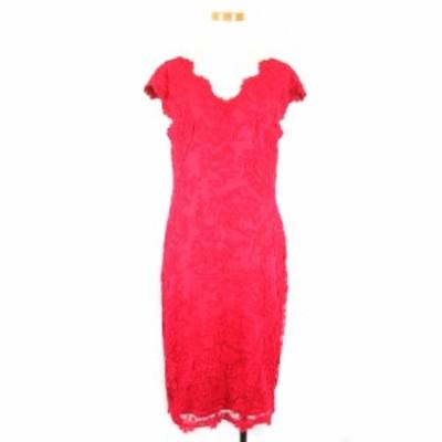 【中古】タダシショージ TADASHI SHOJI ドレス ワンピース ひざ丈 ノースリーブ レース 刺繍 8 L 濃ピンク レディース