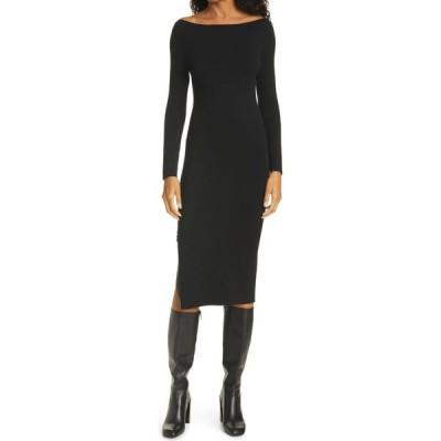 アリス アンド オリビア ALICE + OLIVIA レディース ワンピース スリットワンピース Rochelle Zip Slit Long Sleeve Midi Dress Black/Black