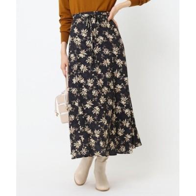 【クチュールブローチ】 フルールプリントスカート レディース ブラック 38(M) Couture Brooch