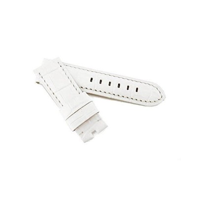 輸入王オリジナル時計パーツ パネライと互換性あり BAバックル用 ベルト 型押しクロコ ホワイト 22/20 mm