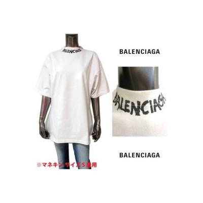 バレンシアガ BALENCIAGA レディース トップス Tシャツ 半袖 Aラインシルエット・ネック部分BALENCIAGAグラフィティーロゴ付きTシャツ (R77000) GB121