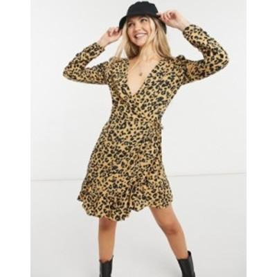 トップショップ レディース ワンピース トップス Topshop ruched sleeve wrap dress in heart animal print Tan