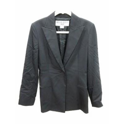 【中古】ナチュラルビューティーベーシック ジャケット テーラード シングル 長袖 背抜き M 黒 ブラック /CT レディース
