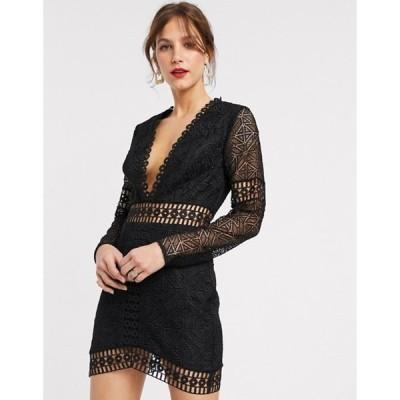 エイソス レディース ワンピース トップス ASOS DESIGN mini dress with long sleeve in lace