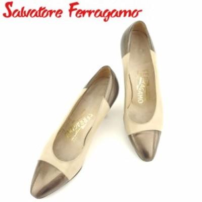 サルヴァトーレ フェラガモ パンプス シューズ 靴 ♯4ハーフC バイカラー ベージュ ブラウン Salvatore Ferragamo 中古 H629