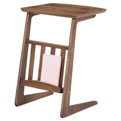 ソファサイドテーブル テーブル 机 トムテ ウォルナット おしゃれ 北欧 木製 天然木 ミニテーブル ラック付 TAC-239WAL / 東谷