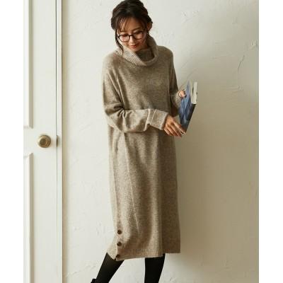 【洗濯機OK】裾ボタン付 ニットチュニックワンピース (ワンピース)Dress