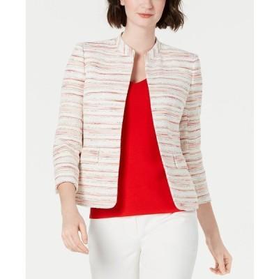 アンクライン ジャケット&ブルゾン アウター レディース Striped Mandarin-Collar Blazer Anne White/Poppy Combo