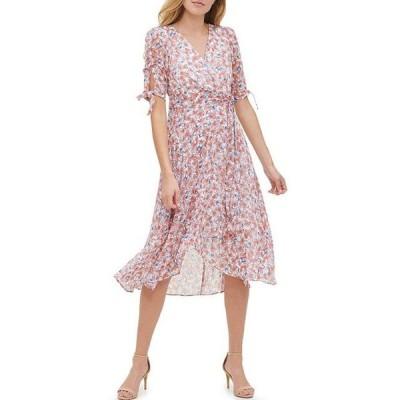 トミー ヒルフィガー レディース ワンピース トップス Floral V-Neck Tie Sleeve Chiffon Midi Dress