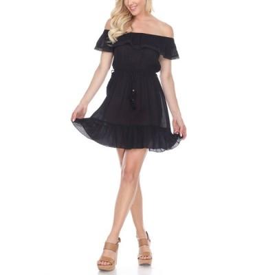 ホワイトマーク ワンピース トップス レディース Women's Smocked Off-The-Shoulder Dress Black