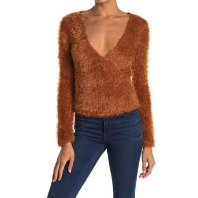 ラッシュ レディース ニット&セーター アウター Fuzzy Knit Surplice Crop Sweater RUST