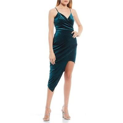 ハニーアンドロージー レディース ワンピース トップス Spaghetti Strap Glitter Velvet Faux-Wrap Asymmetric Hem Dress