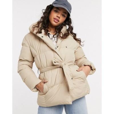 スリードベア Threadbare レディース ダウン・中綿ジャケット フード アウター Stanley Belted Puffer Coat With Hood ベージュ