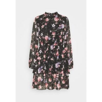 オンリー ワンピース レディース トップス ONLVIVIAN FLOWER FRILL DRESS - Day dress - black