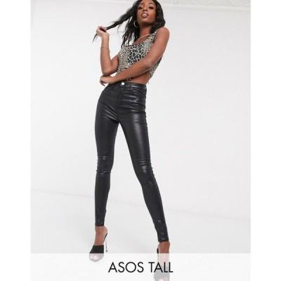 エイソス ASOS Tall レディース ジーンズ・デニム ボトムス・パンツ ASOS DESIGN Tall Ridley high waist skinny jeans in black coated ブラック