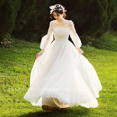 ウェディングドレス ウエディングドレス ロングドレス 結婚式 二次会 花嫁 前撮りドレス チュール オフホワイト 披露宴 ふわふわ ガーデンウェディング 写真撮影