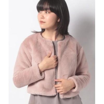 MISS J/ミス ジェイ エコファー ショートジャケット ピンク 40