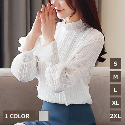ブラウス白大きいサイズレディーストップスシャツビジネスフォーマルきれいめ体型カバー韓国風着痩せシフォンシャツゆったりおしゃれハイネック結婚式通勤ママOL