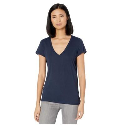 オルタナティヴ Alternative レディース Tシャツ Vネック トップス Melange Burnout Jersey Slinky V-Neck Navy