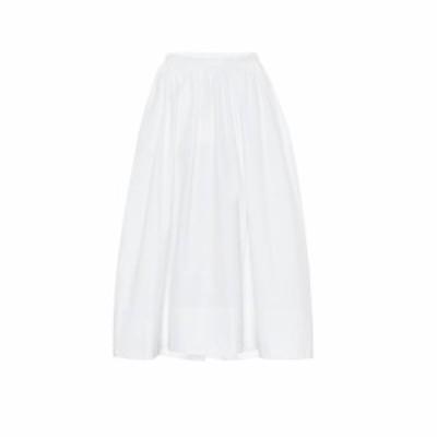 ジル サンダー Jil Sander レディース ひざ丈スカート スカート High-rise cotton-poplin midi skirt White