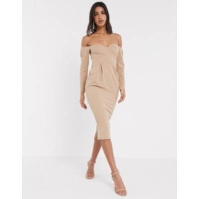 エイソス レディース ワンピース トップス ASOS DESIGN fallen shoulder bust cup midi dress in mocha Mocha