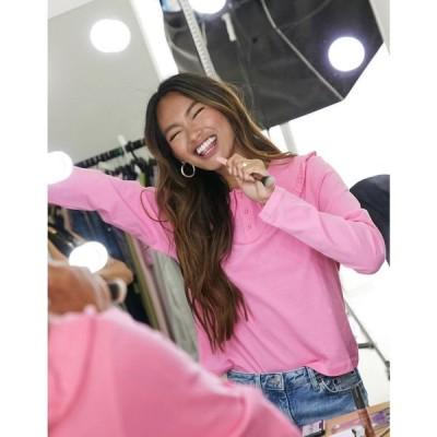 モンキ Monki レディース 長袖Tシャツ トップス Pari Organic Cotton Collared Long Sleeve Top In Pink ピンク