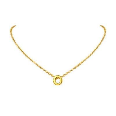 FindChic イニシャルネックレスO レディース ペンダントトップ 18金 18k ゴールド 真鍮 小さめ 鏡面 シンプル 大人可愛い